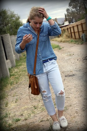 blue Forever21 shirt - white Vans shoes - aquamarine Target watch