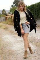 black f21 coat - f21 - heather gray hm skirt - ivory f21