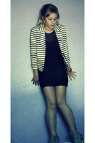 gray Forever 21 shoes - white Mango jacket - black American Apparel dress - gold