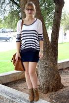 blue i love new york shirt - blue f 21 skirt - brown f 21 bag