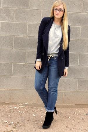 black Zara boots - blue f21 blazer - gray f21 sweater
