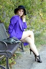 Purple-vintage-blazer-black-dillards-shoes-black-somewhere-in-tennessee-hat