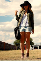 green f21 shirt - brown asos shoes - white f21 shirt - black hat - gold random -