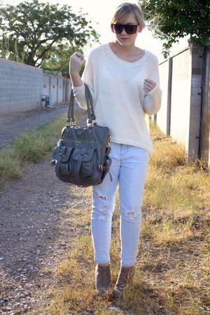 beige f21 sweater - gray Aldo purse