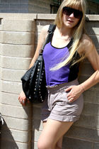 purple shirt - brown shorts - asos sunglasses