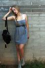 Gray-f21-dress-gray-f21-shoes-black-storets-bag