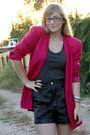 Pink-vintage-blazer-black-vintage-shorts-black-f21-shoes-gray-f21-shirt