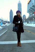 camel Zara - black Forever21 coat - purple storets - black Forever21 bag
