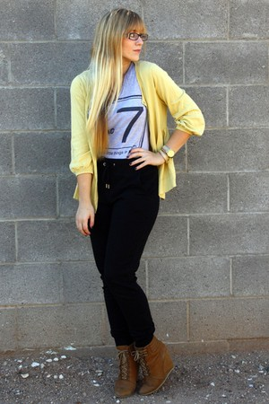 yellow new york & co cardigan - black f21 pants - brown Zara