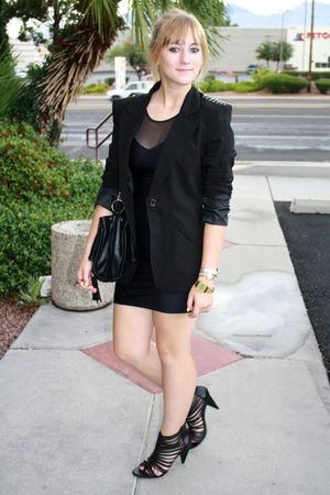 black storets purse - black River Island shoes - black American Apparel dress