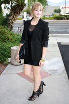 black storets purse - black River Island shoes - black American Apparel dress