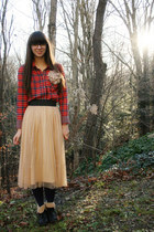 peach Urban Outfitters skirt - black Forever 21 boots - red Zara shirt