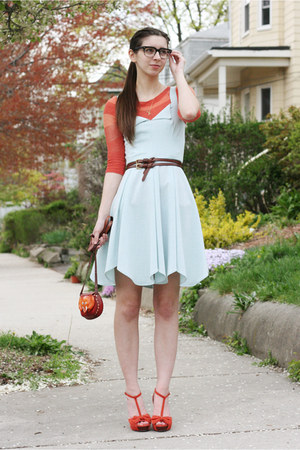 light blue handmade dress - orange Anthropologie sweater