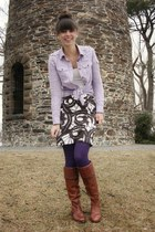 brown Vince Camuto boots - light purple Gap shirt - purple tights - white polka