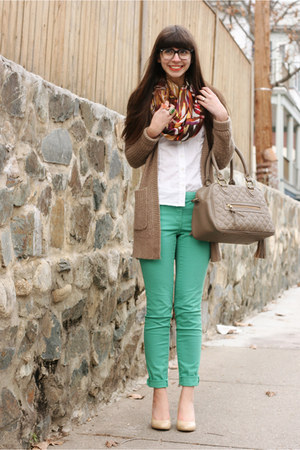 hot pink H&M scarf - white BCBG shirt - tan theIT bag - turquoise blue H&M pants