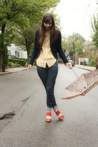 BCBGeneration jeans - navy Target blazer - yellow Jcrew shirt - red seychelles h