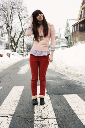 black Forever 21 boots - pink Forever 21 sweater - purple Gap shirt - red Urban