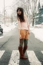 Dark-brown-vince-camuto-boots-light-pink-forever21-sweater-floral-anthropolo