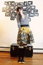 black striped Express sweater - dark gray Anthropologie socks - mustard Anthropo