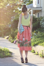 salmon vintage skirt - turquoise blue handmade bag - lime green H&M t-shirt