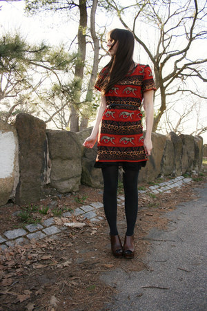 orange dress - black Express tights - dark brown Madden Girl wedges