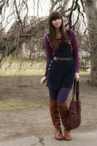 brown Vince Camuto boots - deep purple Urban Outfitters tights - dark brown Luck