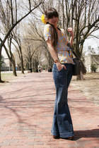 blue Gap jeans - yellow Anthropologie accessories - camel leopard print Diane Vo