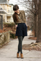 navy vintage shorts - brown Boutique 9 boots - dark gray H&M tights