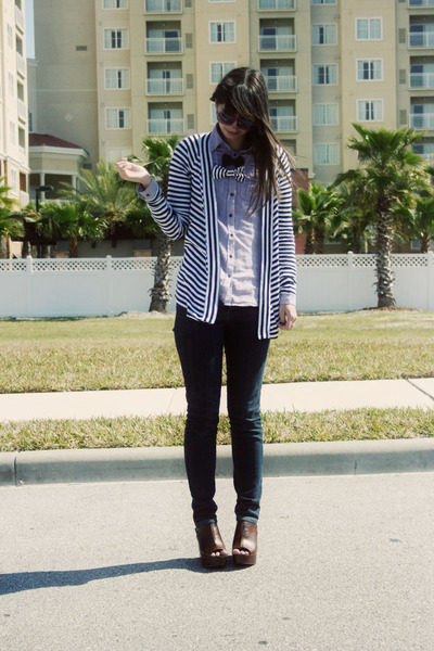 blue BCBGeneration jeans - amethyst Gap shirt - black striped Express cardigan -