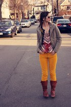 army green Theory coat - navy Anthropologie cardigan - brown Anthropologie top -