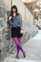 magenta Target tights - camel H&M sweater - blue Old Navy shirt