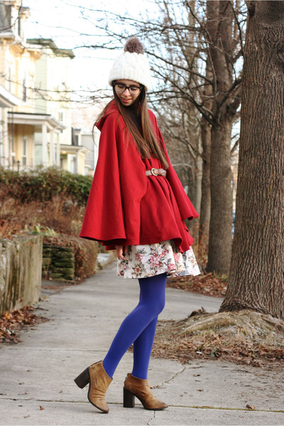 tights - Boutique 9 shoes - hat - Swapped Vintage skirt - American Apparel cape