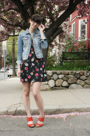 black floral Tucker for Target dress - H&M jacket - red seychelles heels