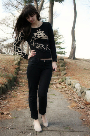 black H&amp;M sweater - black Gap pants - beige Blowfish flats
