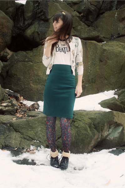 black Forever21 boots - dark gray floral Anthropologie tights - green American A