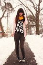 Mustard-target-scarf-pink-victorias-secret-cardigan-black-polka-dot-handmade