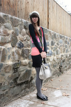 heather gray purse - black Jeffrey Campbell shoes - bubble gum kensie dress