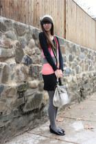 heather gray purse - black Jeffrey Campbell shoes - bubble gum kensie dress
