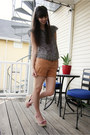 Burnt-orange-jcrew-shorts-black-thrifted-michael-kors-blouse-pink-forever-21