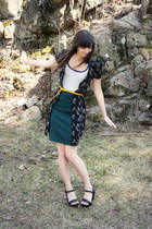 black bird print H&M dress - green American Apparel skirt - navy striped delias