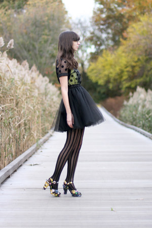 yellow H&amp;M top - black modcloth dress - black Urban Outfitters tights