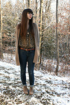 brown thrifted shirt - camel Old Navy boots - navy BCBGeneration jeans