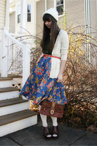 blue Anthropologie skirt - brown coach purse - ivory C&C California cardigan