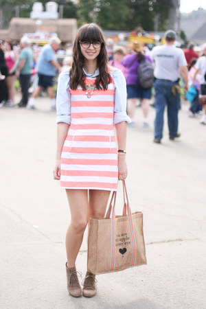 light blue American Apparel shirt - tan Target boots - light orange Jcrew dress