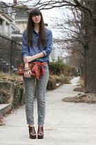 brown coach purse - blue Old Navy shirt - heather gray Target pants