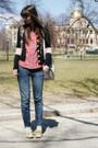 Gap-jeans-red-zara-shirt-gray-spotted-moth-bag-yellow-seychelles-heels-b