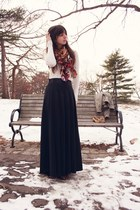 purple printed H&M scarf - ivory Gap sweater - black maxi skirt