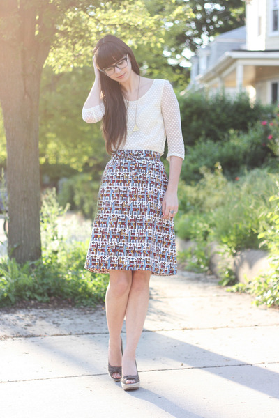 sky blue vintage skirt - ivory Urban Outfitters blouse