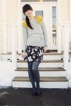 chartreuse Ann Taylor Loft dress - heather gray Gap sweater - dark gray tights -