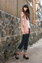 light pink Urban Outfitters tights - navy BCBGeneration jeans